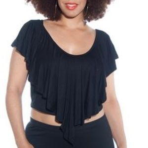 TOTO Collection Black Crop Top Ruffle Front 3X